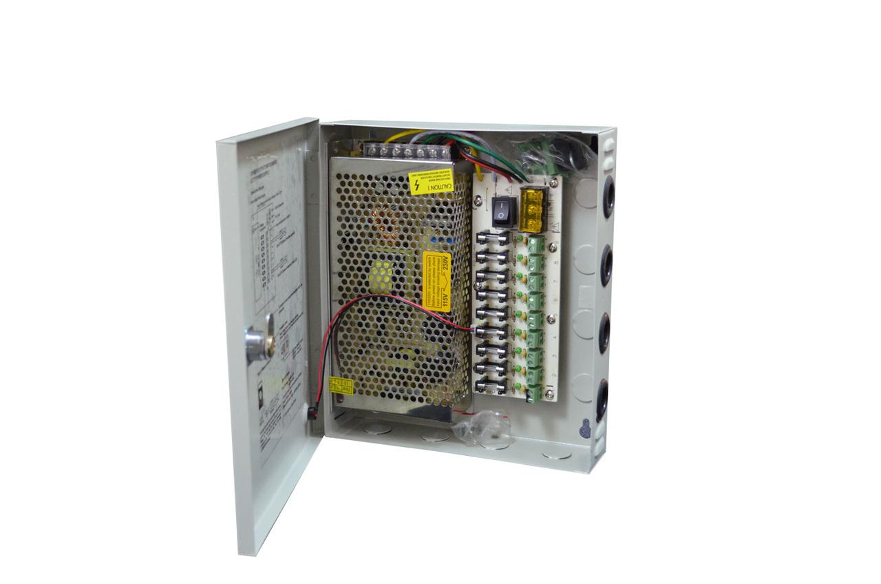 Блок питания в боксе на ключе для камер CCTV, 9-каналов 12В 10А 120Вт
