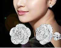 Серебряные серьги Роза серьги гвоздики,стерлинговое серебро 925 проба