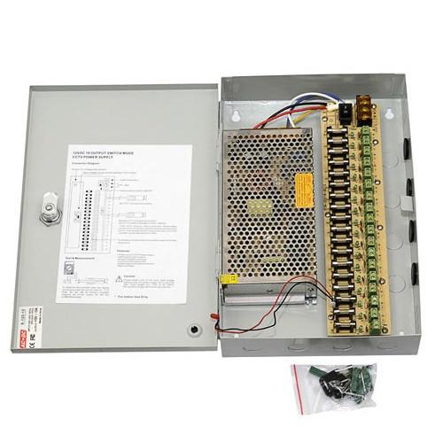 Блок питания в боксе на ключе для камер CCTV, 18-кан 12В 20А 240Вт