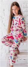 Пижама детская для девочки хлопок флис теплая плюшевая махровая зимняя Wiktoria W 558 розовая