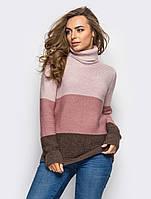 S-L / Женский трехцветный вязаный свитер Karisa, розово-коричневый