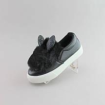 Слипоны с ушками детские черные размер 34, фото 3