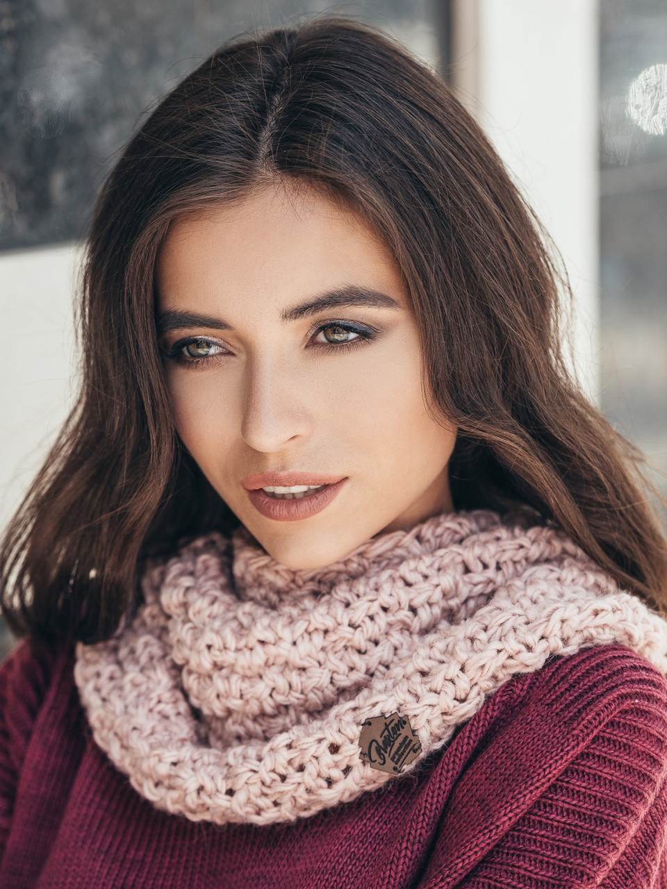 Женский стильный хомут / снуд / шарф Adalin, розовый