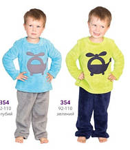 Пижама детская для мальчика хлопок флис теплая плюшевая махровая зимняя Wiktoria W 354