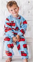 Пижама детская для мальчика хлопок флис теплая плюшевая махровая зимняя тачки голубая Wiktoria W 558