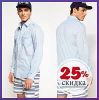 Голубая мужская рубашка De Facto / Де Факто с накладным карманами на груди