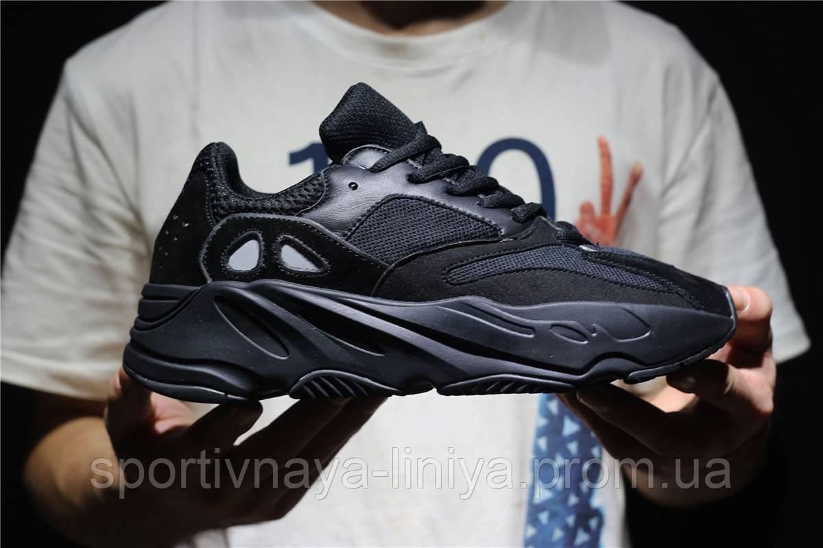 Кроссовки мужские черные Adidas Yeezy Boost 700 Black (реплика)