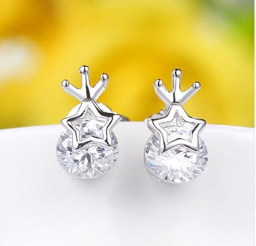 Серебряные серьги, серьги гвоздики, Звезда, стерлинговое серебро, 925 проба, фото 1
