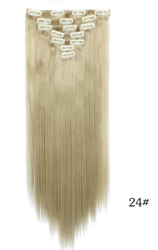 Накладные ровные волосы  7 прядей на клипсах,трессы длинна 55 см.