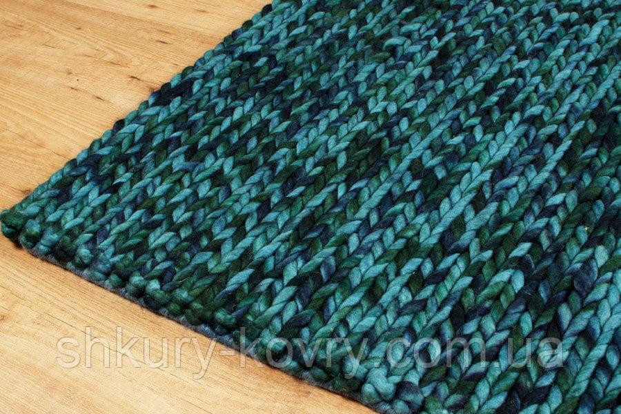 Эксклюзивный шерстяной меланж бирюзовый ковер вязаный в Индии