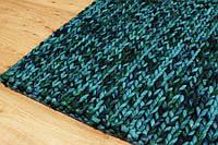 Эксклюзивный шерстяной меланж бирюзовый ковер вязаный в Индии , фото 1