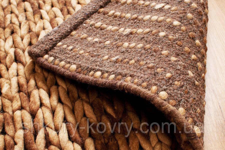 купить красивый вязаный ковер из шерсти бежево коричневый меланж
