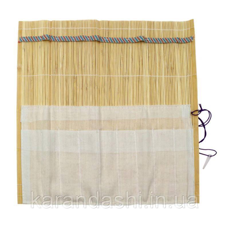 Пенал для кистей, бамбук, натуральный цвет+ткань (33х33см), D.K.ART & CRAFT