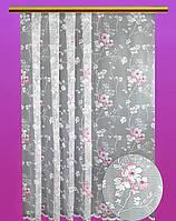 """Жакардовий тюль """"Сакура"""" (білий), висота 165 см"""