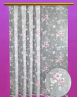 """Жаккардовый тюль """"Сакура"""" (белый), высота 165 см"""