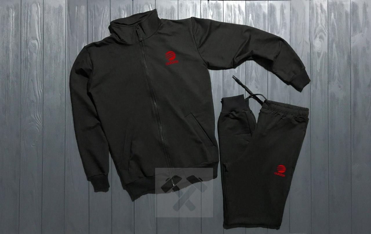 Спортивный костюм на молнии Adidas черный топ реплика