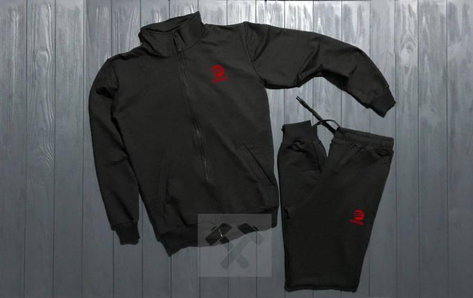 Спортивный костюм на молнии Adidas черный топ реплика, фото 2