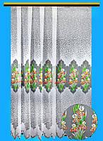 """Жаккардовый тюль """"Петушки"""" (белый), высота 250 см"""