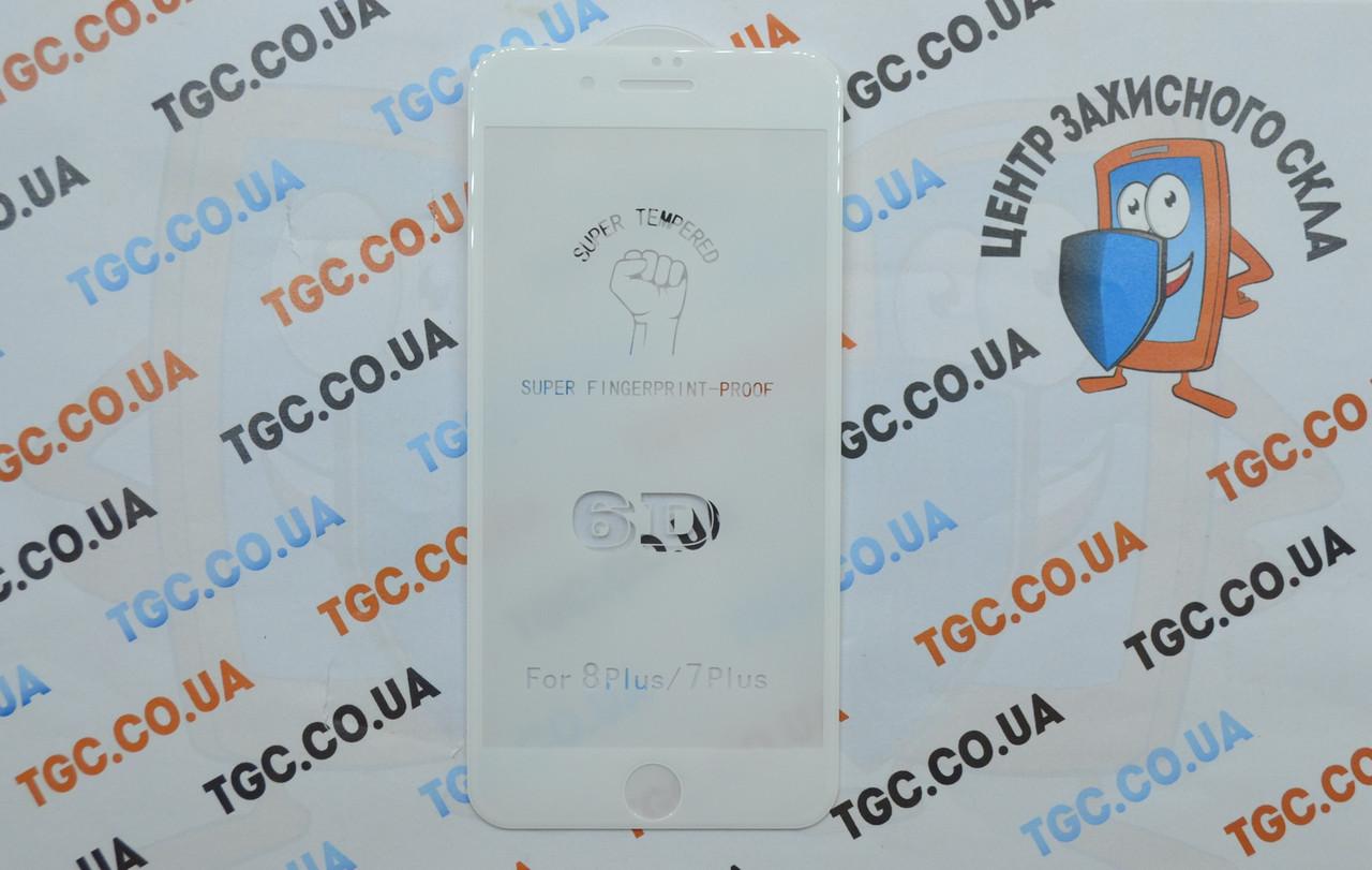 Защитное стекло 6D (монолит) для iPhone 7 Plus White