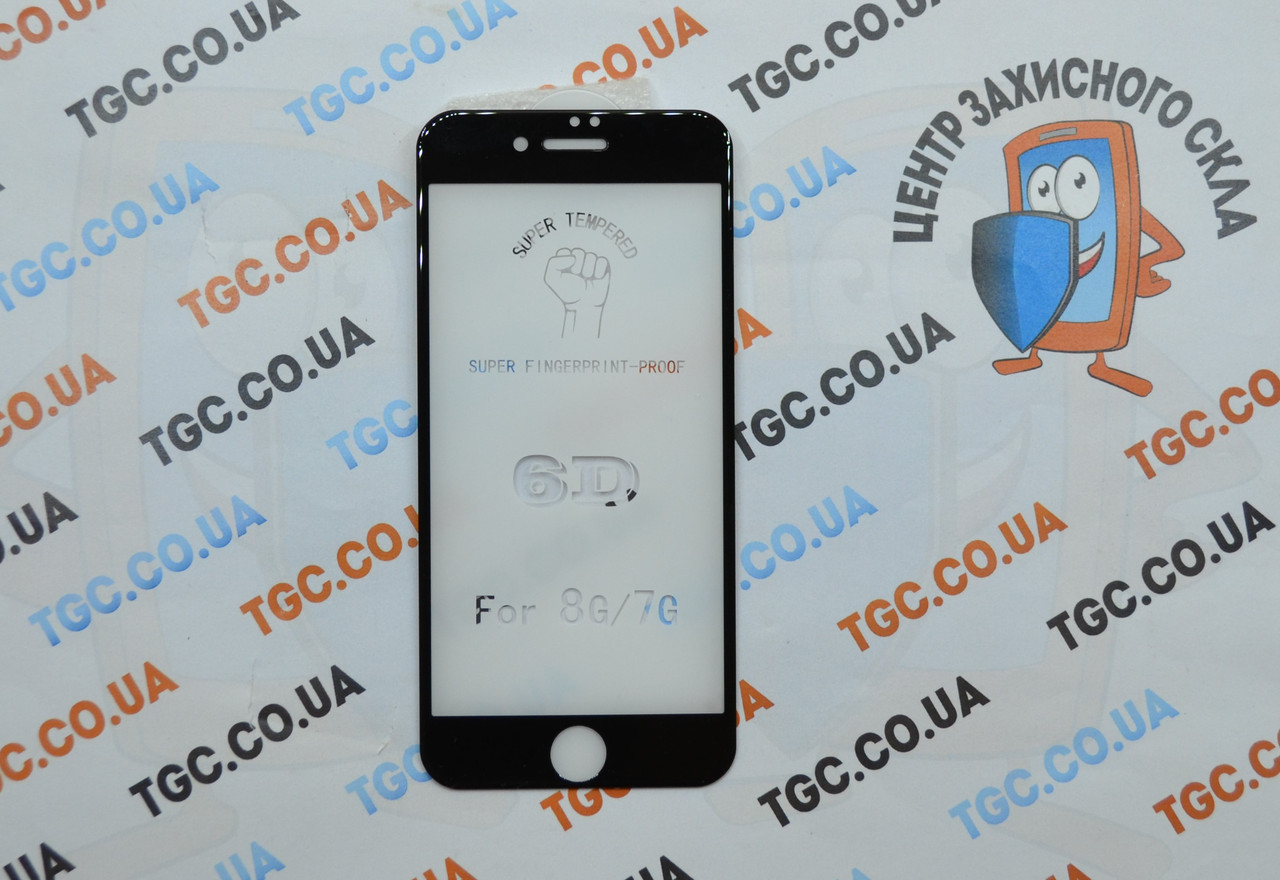 Защитное стекло 6D (монолит) для iPhone 8 Black