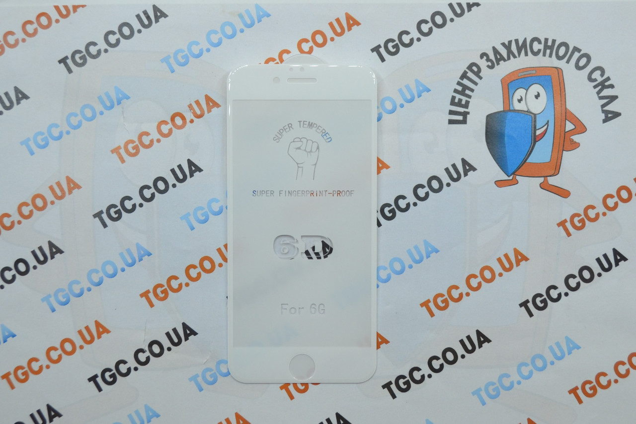Защитное стекло 6D (монолит) для iPhone 6/6s White