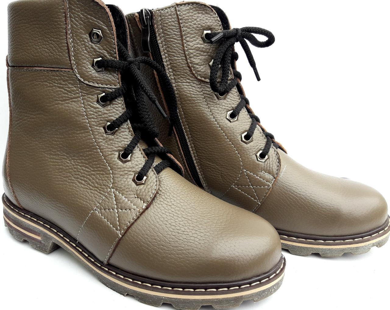 ad3628849 Женские зимние (овчине) ботинки из натуральной кожи на низком ходу бежевого  цвета - Eshafa