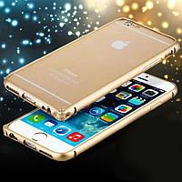 Бампер для Apple iPhone 6s iPhone 6, ультратонкий на защелке, алюминиевый, Fashion case, Золотой с золотистой