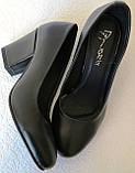 Nona! женские качественные классические туфли черная кожа взуття на каблуке 7,5 см, фото 4