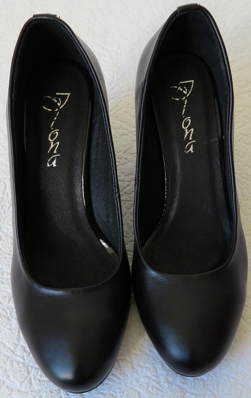 Женские качественные классические туфли батал размер черная кожа взуття на каблуке  7 623b55fb9dfc5