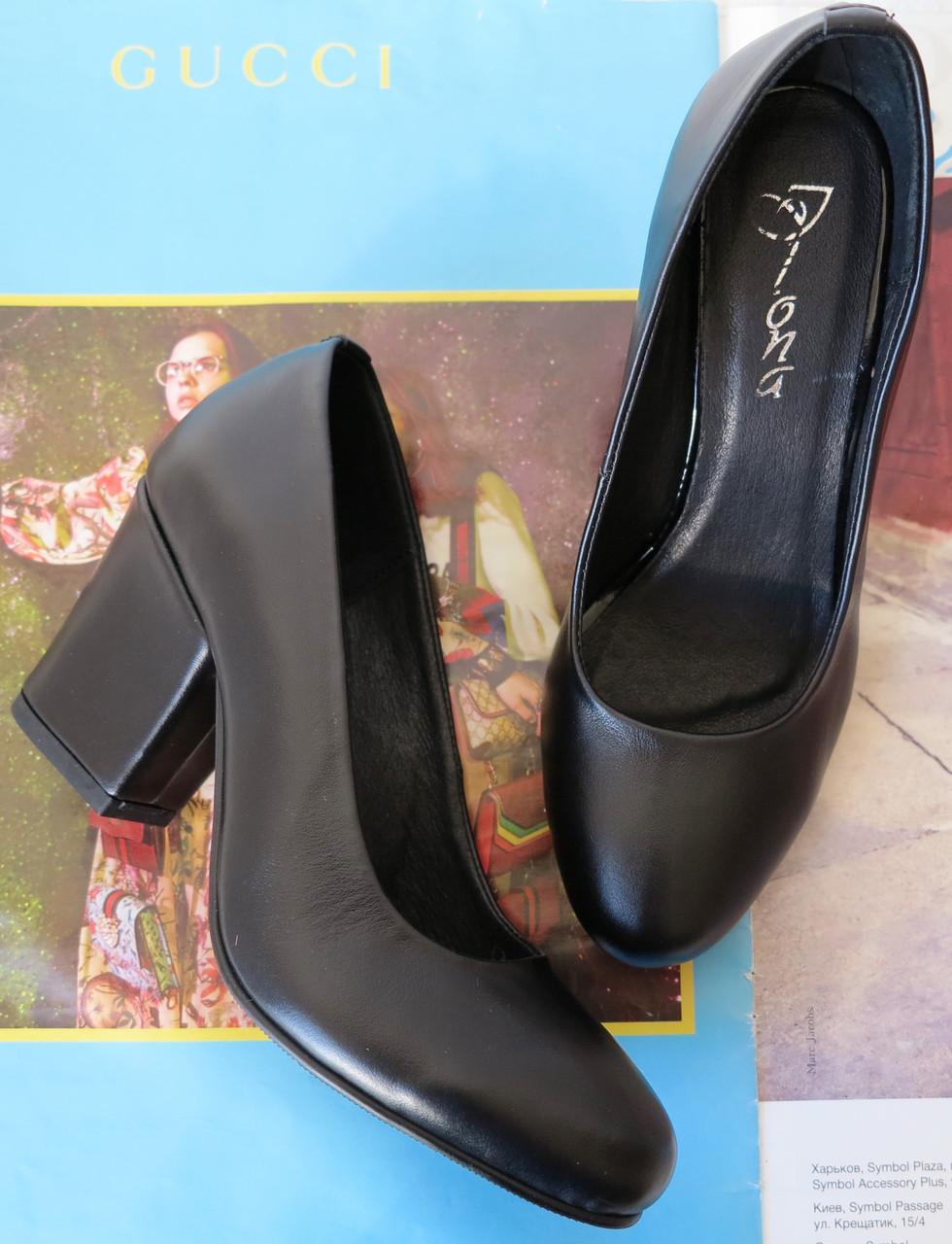 Nona! женские качественные классические туфли черная кожа взуття на каблуке 7,5 см