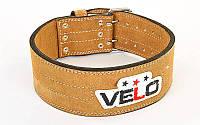 Пояс для пауэрлифтинга кожаный Velo 6645: размер M-L