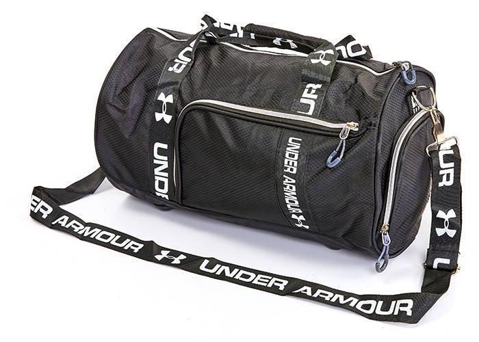 Спортивна сумка - бочечка в стилі UNDER ARMOUR  1791 з відділенням для взуття колір чорний / срібло
