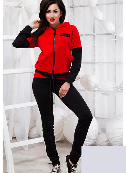 Спортивный костюм красный с черным 820483