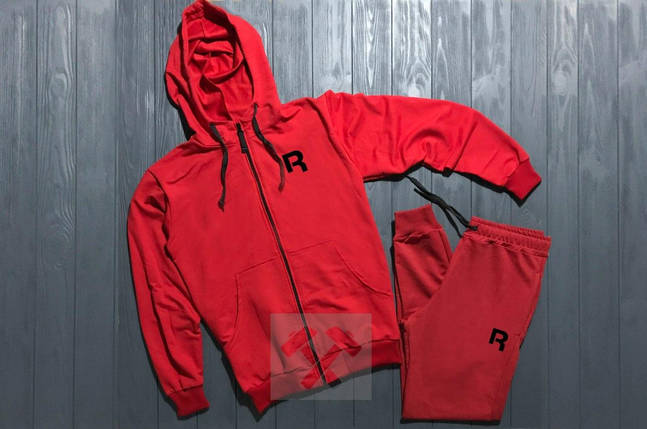 Спортивный костюм на молнии Reebok красный топ реплика, фото 2
