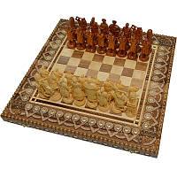 """Сувенирные шахматы + нарды+ шашки  """"Казаки"""" 50 х 50 см. Бисер + Медь, фото 1"""