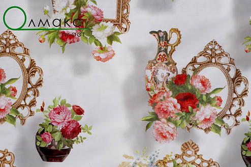 Клеёнка силикон непрозрачная цветы на белом фоне, фото 2