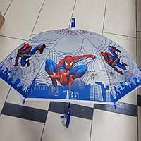 Зонт трость для мальчика силиконовый Человек Паук