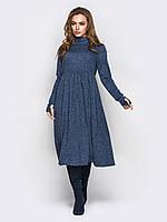 9f1bfba035d Синее трикотажное женское платье с длинным рукавом р.44