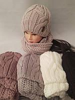 Шапка вязаная + хомут для девочки зима на флисе ( Паула)