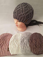 Шапка вязаная для девочки зима на флисе ( Багира)