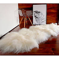 Ковер из овчины исландской породы белого цвета, из 2-х шкур, фото 1