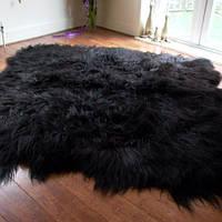 Ковер из черной исландской овчины, из 8 шкур, фото 1