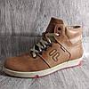 Мужские зимние мокасины, ботинки , светло коричневые , из натуральной кожи