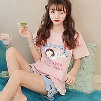 Пижама женская для девочки хлопковая цветная костюм домашний футболка шорты f77ec2c339ae9