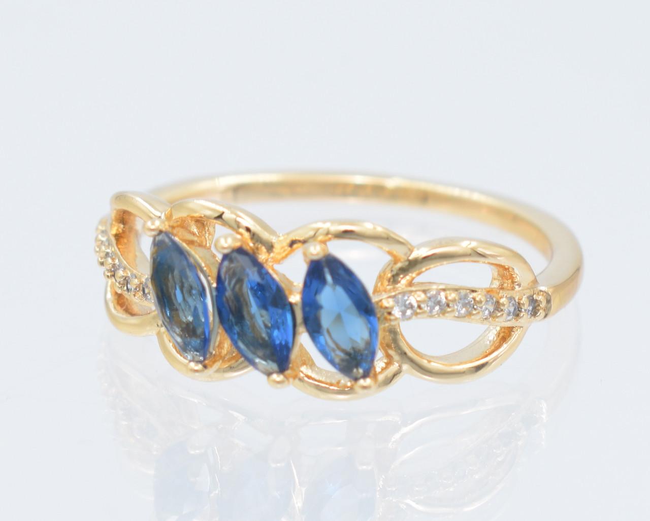 XUPING Кольцо Позолота 18к три синих циркона Ширина 8мм, Размер 16,17,18