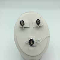Комплект серебряных изделий серьги, кольцо раухтопаз