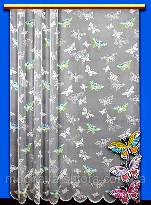 """Жаккардовый тюль """"Бабочки"""" (белый), высота 250 см"""