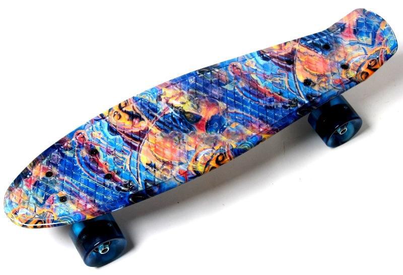 """Penny Board """"Blue pyramid"""" Светящиеся колеса Гарантия качества Быстрая доставка"""