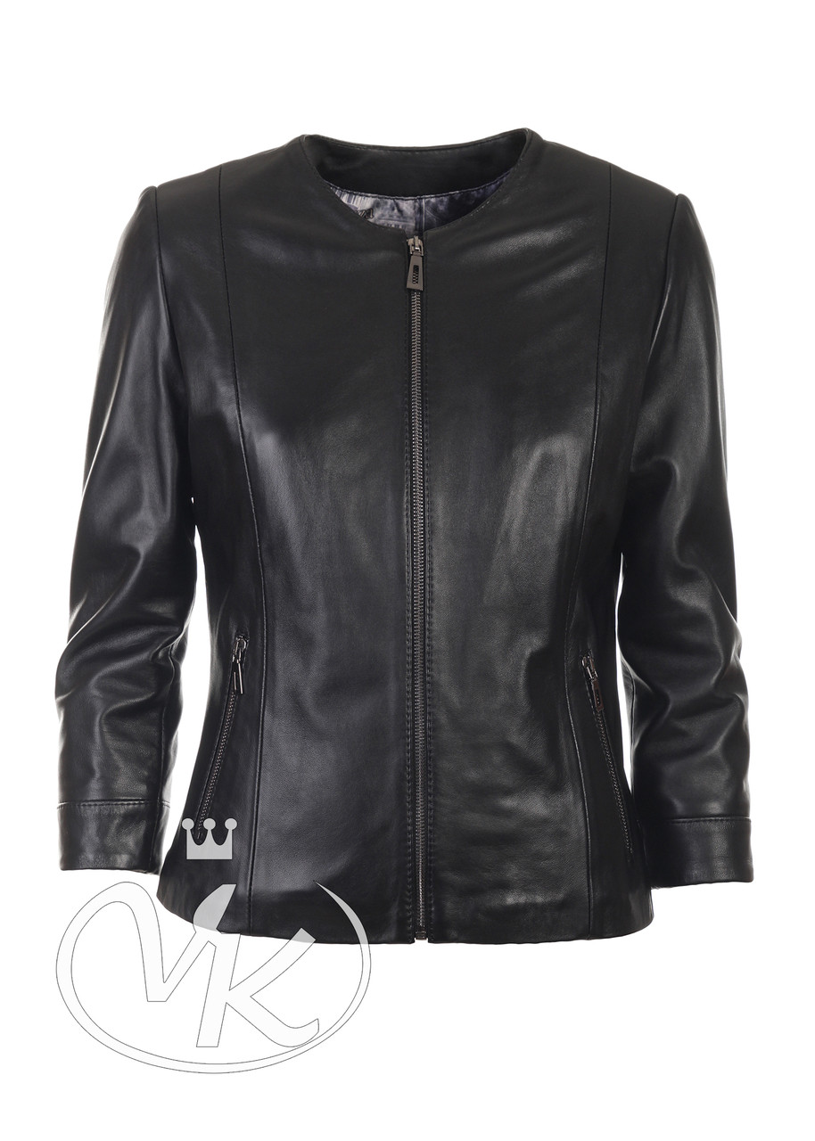 Летняя кожаная куртка женская короткая (Арт. TEX2-201)