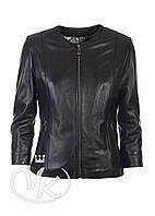 Черная кожаная куртка короткая (TEX2-201)